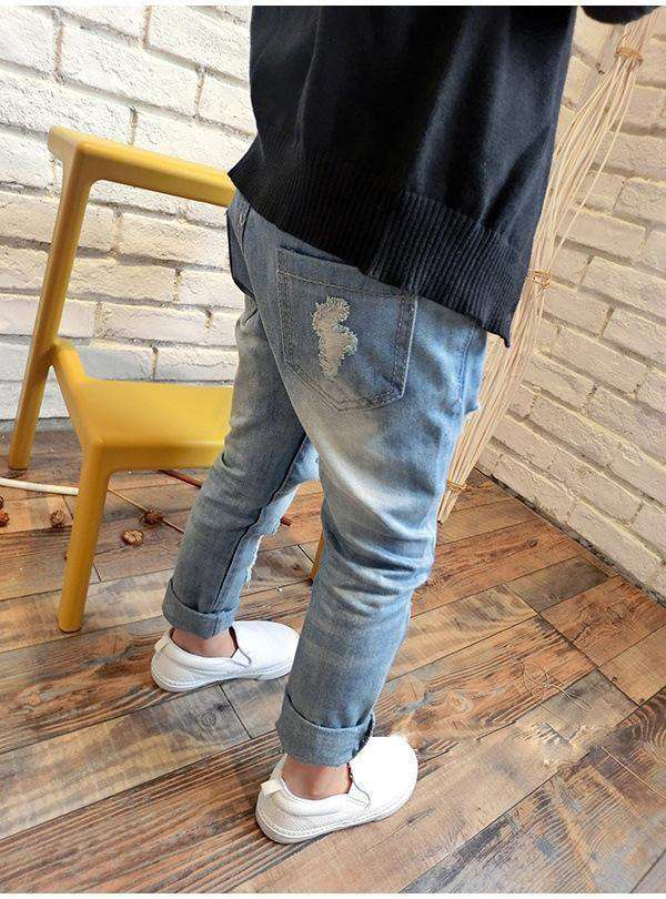 Boys & Girls Ripped Jeans Trend Denim Trousers