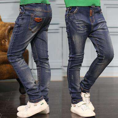 Boys Jeans Solid Thin Denim Causal Long Trousers 8011 Thin Style / 4T