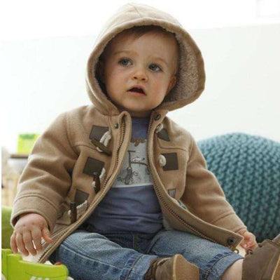 Boys Warm Outerwear Thicken Hooded Brown / 3T