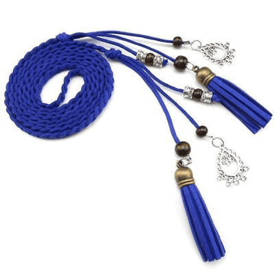 Braided Rope Pu Waist Belts Blue / 170Cm Belts