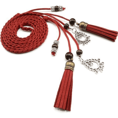 Braided Rope Pu Waist Belts Red / 170Cm Belts