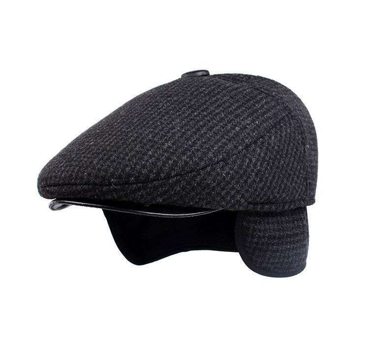 British Retro Men Woolen Flat Cap Color 1 / 56Cmto57Cm Berets