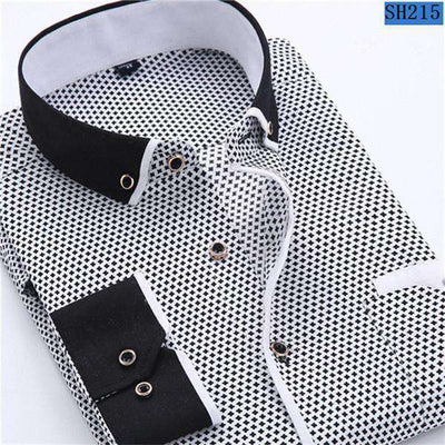 Business/social Casual Long Sleeved Printed Shirts Sh215 / Asia Size S Shirts