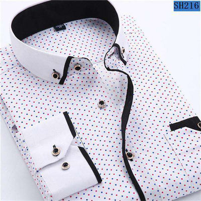 Business/social Casual Long Sleeved Printed Shirts Sh216 / Asia Size S Shirts