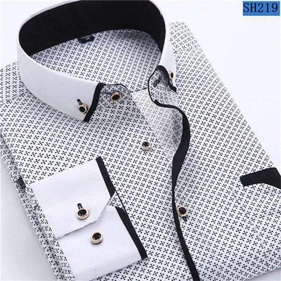 Business/social Casual Long Sleeved Printed Shirts Sh219 / Asia Size S Shirts