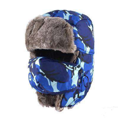 Camouflage Ear Flaps Snow Caps Blue Hats