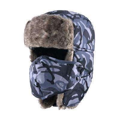 Camouflage Ear Flaps Snow Caps Gray Hats