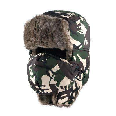 Camouflage Ear Flaps Snow Caps Green Hats
