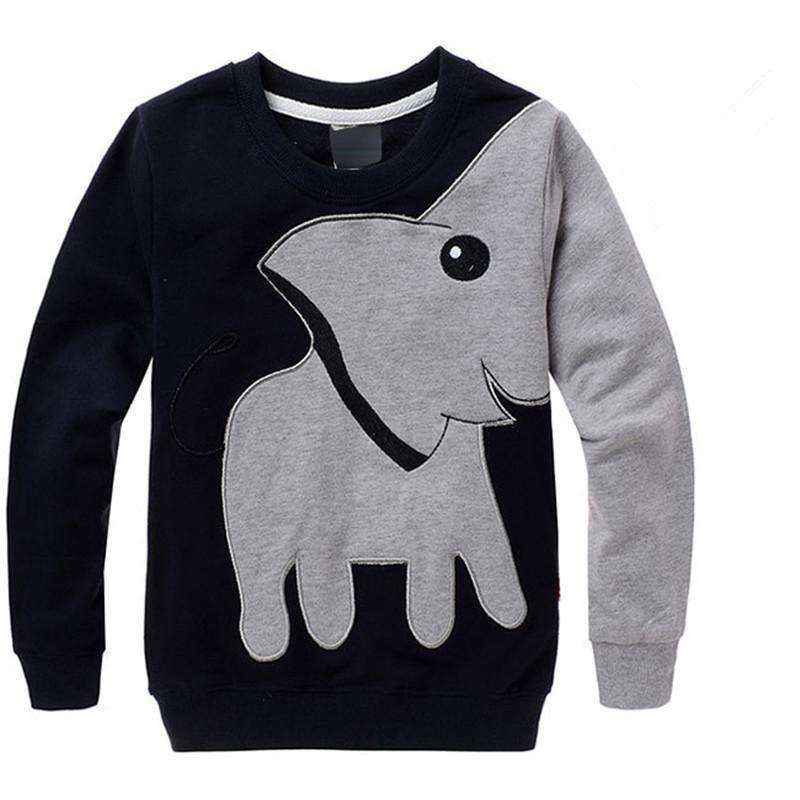 Cartoon Elephant Printed Long Sleeve Children Sweater Boy Girl Yellow / 3T