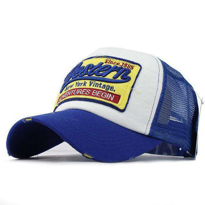 Casual Embroidery Mesh Cap West Blue / Adjustable Baseball Caps