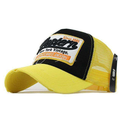 Casual Embroidery Mesh Cap West Yellow / Adjustable Baseball Caps