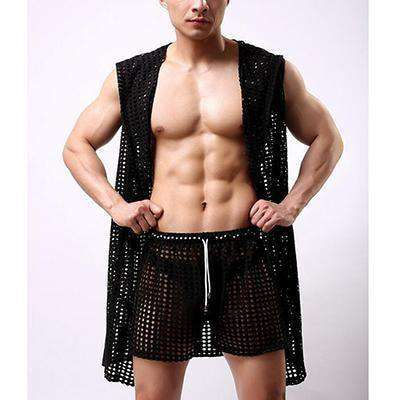 Casual Sleepwear Hollow Nets Sexy Mens Bathrobe Robes