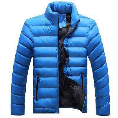 Casual Thick Parka Men Outwear Color Solid Blue / M Jackets