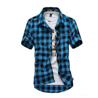 Chemise Homme Red And Black Plaid Shirt Blue / M Shirts