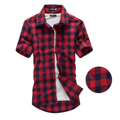 Chemise Homme Red And Black Plaid Shirt Red Navy / M Shirts