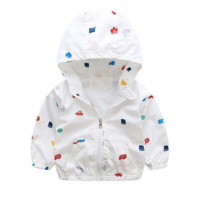 Children Jackets Casual Hooded Kids Outerwear White Car / 2T