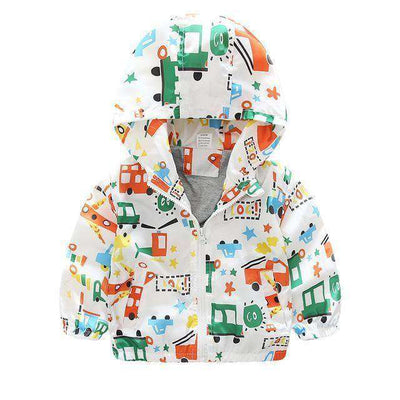 Children Jackets Casual Hooded Kids Outerwear White Plane / 2T