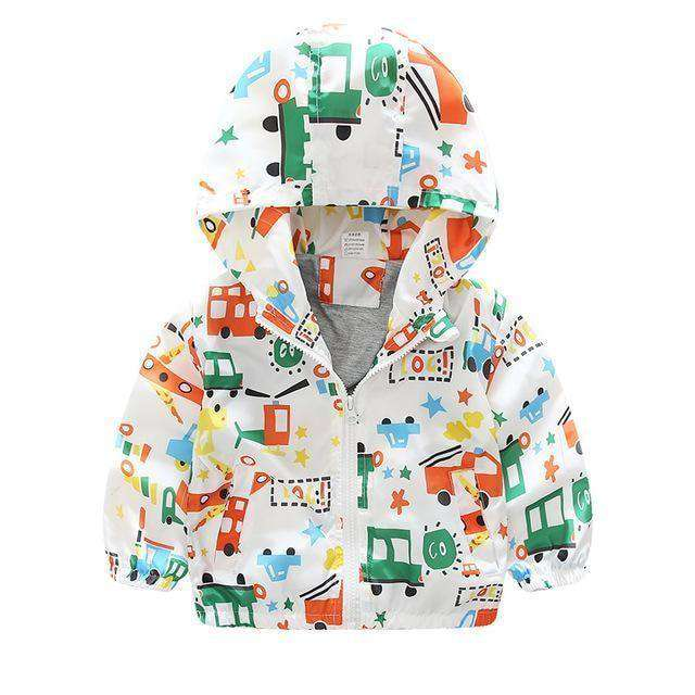 Children Jackets Casual Hooded Kids Outerwear Blue Car / 2T