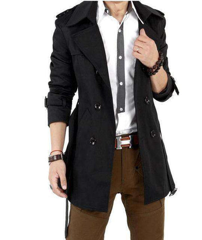 Classic Double Breasted Mens Long Coat A5065Black / Xxl M.trench