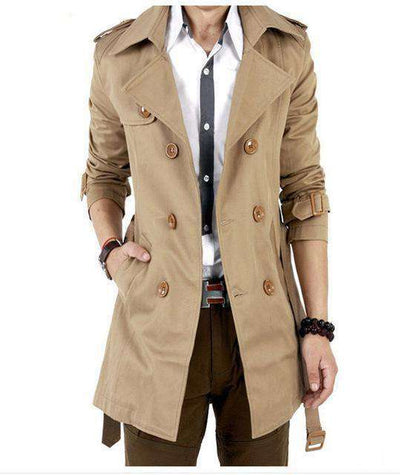 Classic Double Breasted Mens Long Coat A5065Khaki / Xxl M.trench