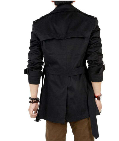 Classic Double Breasted Mens Long Coat M.trench