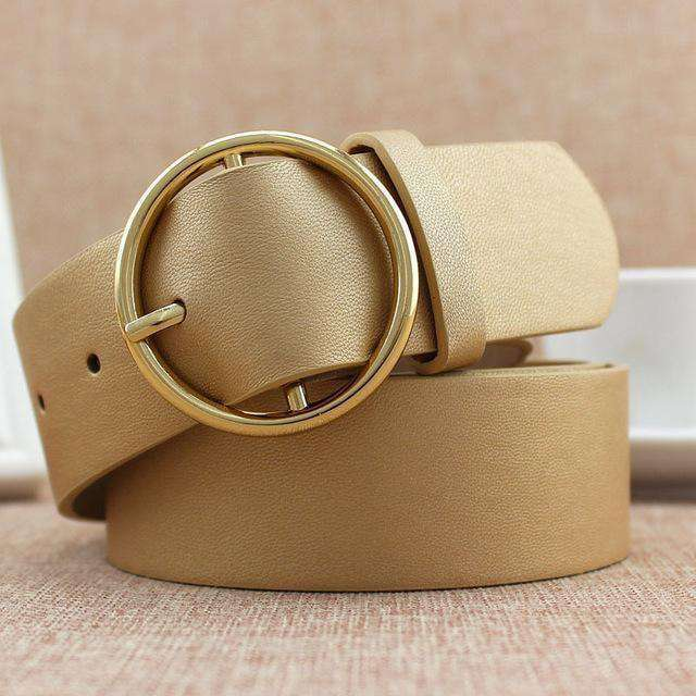 Classic Round Buckle Ladies Wide Belt Belts