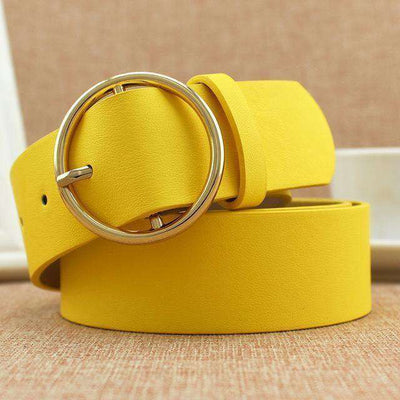 Classic Round Buckle Ladies Wide Belt Yellow / 105Cm Belts