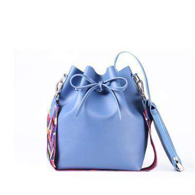 Colorful Strap Bucket Bag Women Shoulder Bag Gray