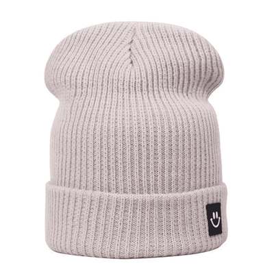 Cotton Cartoon Knitted Beanies Beige Hats