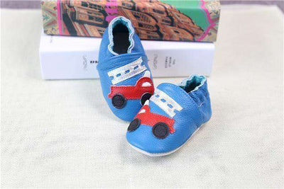 Cow Leather Soft Soled Toddlers Infant Shoes First Walkers Blue Car / 4.5