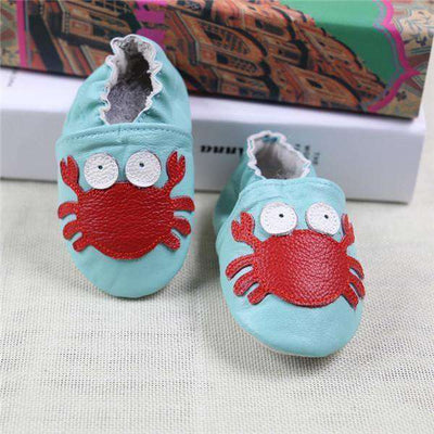 Cow Leather Soft Soled Toddlers Infant Shoes First Walkers Blue Crab / 4.5