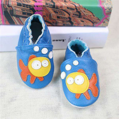 Cow Leather Soft Soled Toddlers Infant Shoes First Walkers Blue Fish / 4.5