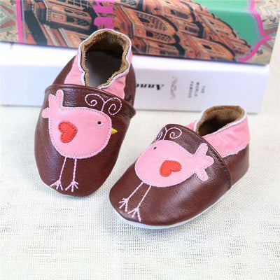 Cow Leather Soft Soled Toddlers Infant Shoes First Walkers Brown Bird / 4.5