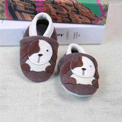 Cow Leather Soft Soled Toddlers Infant Shoes First Walkers Coffee Dog / 4.5