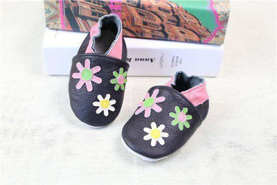 Cow Leather Soft Soled Toddlers Infant Shoes First Walkers Flower / 4.5
