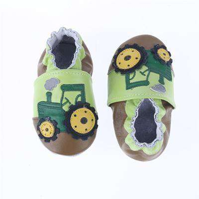 Cow Leather Soft Soled Toddlers Infant Shoes First Walkers Green Car / 4.5