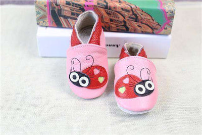 Cow Leather Soft Soled Toddlers Infant Shoes First Walkers Pink Bee / 4.5