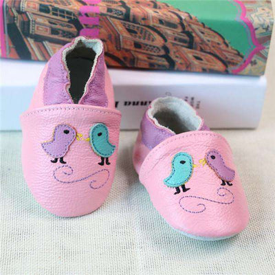 Cow Leather Soft Soled Toddlers Infant Shoes First Walkers Pink Bird / 4.5