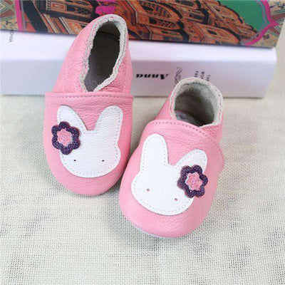 Cow Leather Soft Soled Toddlers Infant Shoes First Walkers Pink Rabbit / 4.5