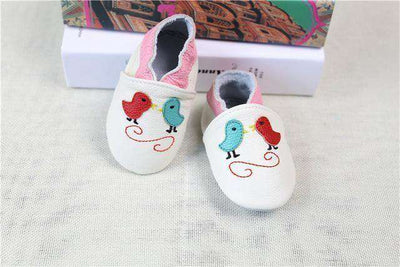 Cow Leather Soft Soled Toddlers Infant Shoes First Walkers White Bird / 4.5