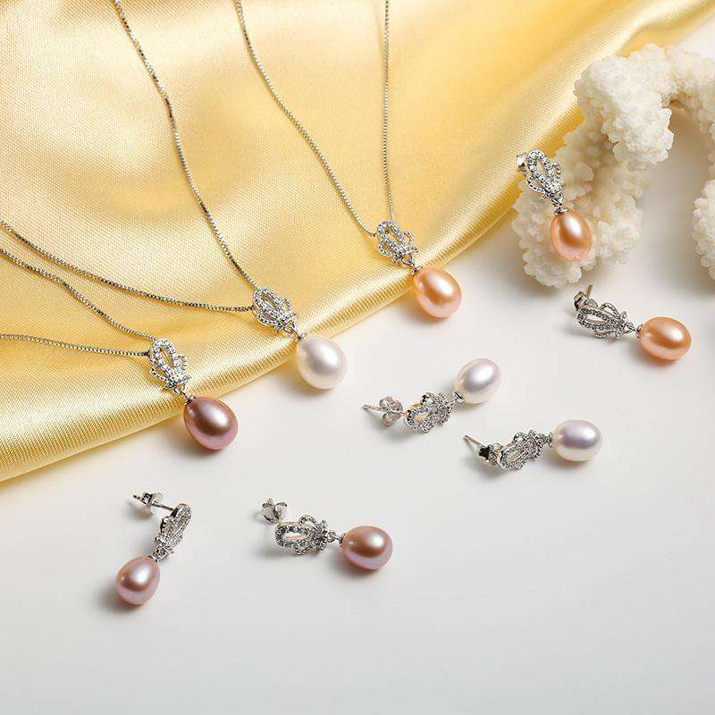 Crown Natural Pearl Pendant Earrings Jewellery Sets
