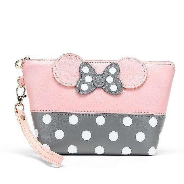 Dot Bow Portable Mouse Bag Pu Travel Organizer Cosmetic Bag Red