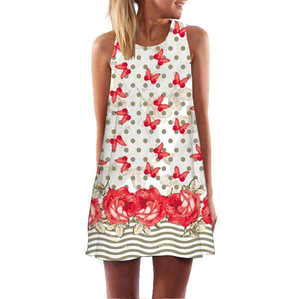 Dress Women Sleeveless O-Neck Summer Dresses