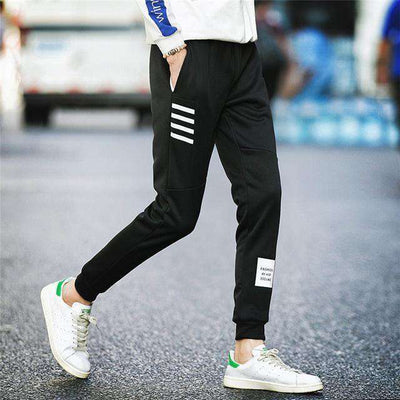 Elastic Waist Men Skinny Pencil Pants Black K51 / S Sweatpants