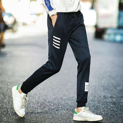 Elastic Waist Men Skinny Pencil Pants Darkblue K51 / S Sweatpants