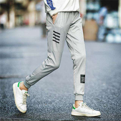 Elastic Waist Men Skinny Pencil Pants Gray K51 / S Sweatpants