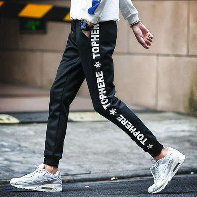 Elastic Waist Men Skinny Pencil Pants K53 Black / S Sweatpants