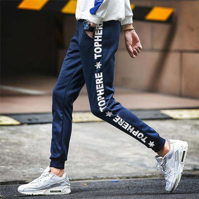 Elastic Waist Men Skinny Pencil Pants K53 Dark Blue / S Sweatpants