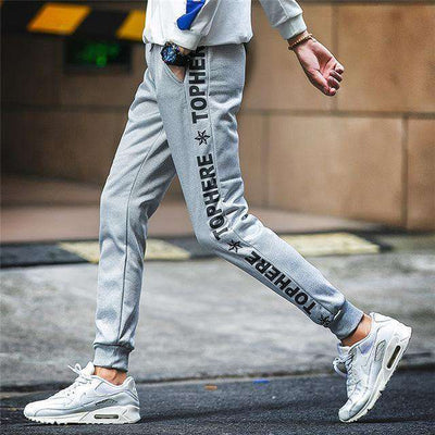 Elastic Waist Men Skinny Pencil Pants K53 Gray / S Sweatpants