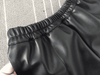 Elastic Waist Pu Leather Black Shorts W.shorts